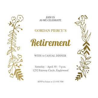 Side By Side Gold Retirement Farewell Party Invitation Template Free Greetings Island Retirement Party Invitations Retirement Invitation Card Party Invite Template