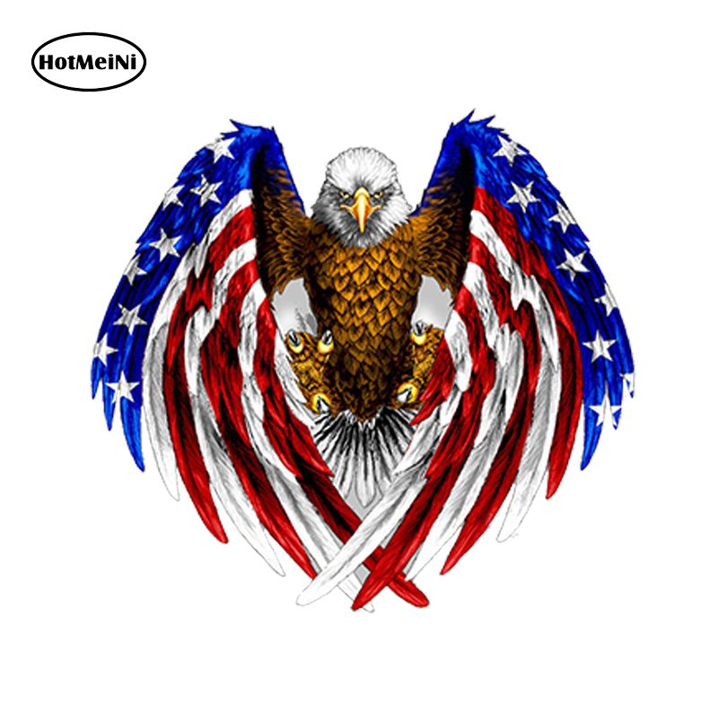 Bald Eagle American Flag Decal Sticker Motorcycle Vehicle Car Window Laptop Wall