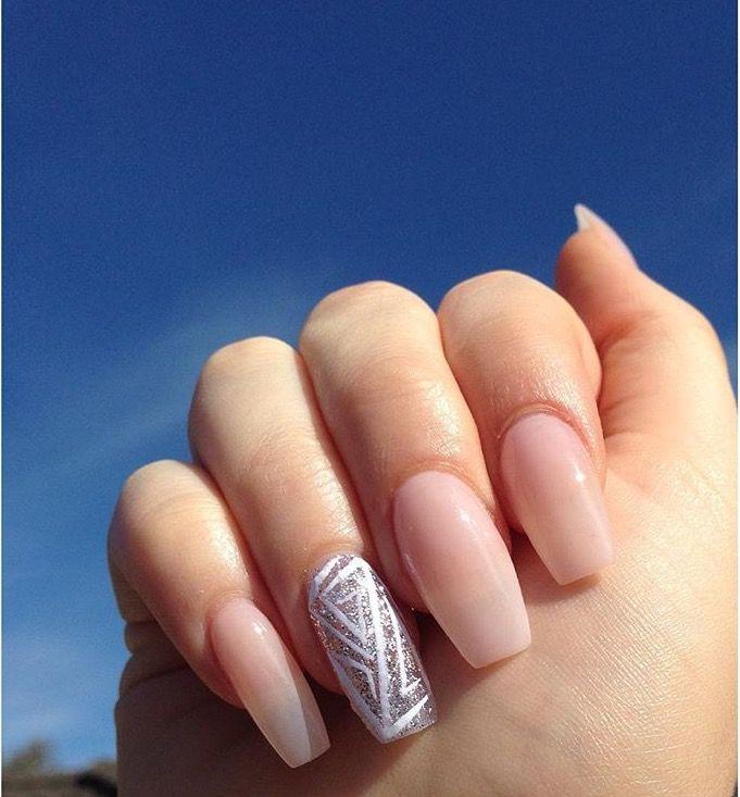 Natural acrylic long coffin nail art silver glitter design | Pretty ...