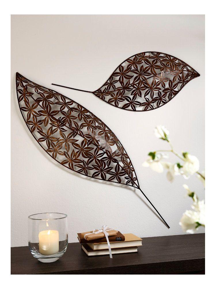 wanddecoratie bladeren antiek-look - Wanddecoratie van Metaal ...