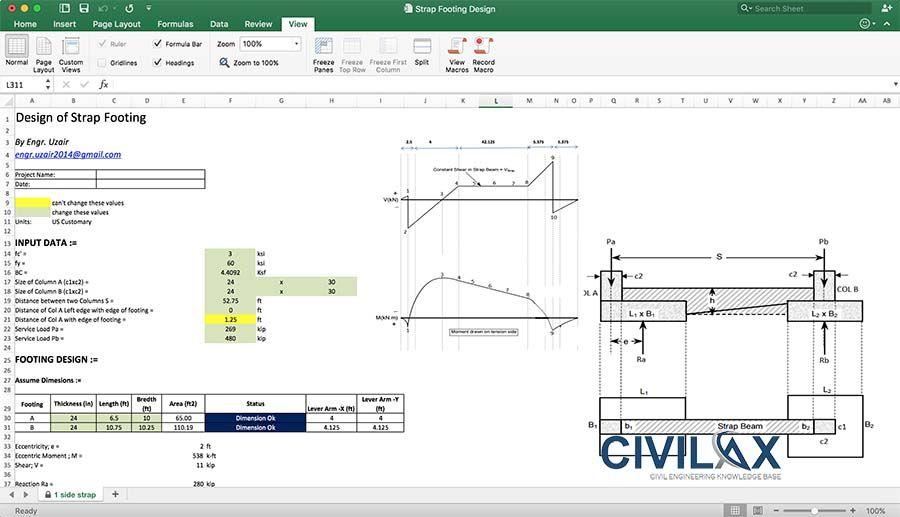 Strap Footing Design Spreadsheet | Strap footing | Civil engineering