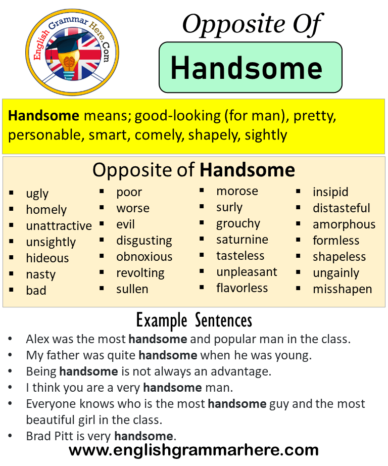 Opposite Of Handsome Antonyms Of Handsome Meaning And Example Sentences Antonym Opposite Words Cont Opposite Words English Vocabulary Words Book Writing Tips