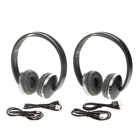 2 Pack Sharper Image Wireless Titanium On Ear Headphones With
