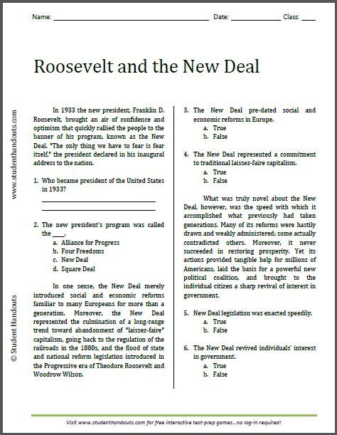 Roosevelt and the New Deal - Reading Worksheet | Free to print ...