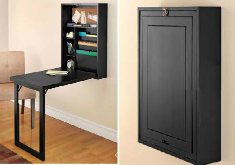 Space saving desk on pinterest fold up desk wall for Fold up craft table