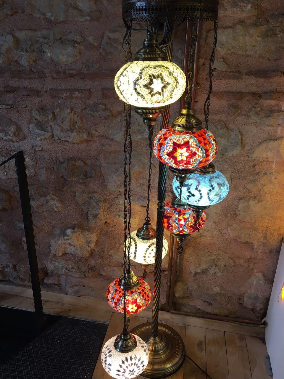 HANDMADE TURKISH MOSAIC FLOOR LAMP, 7 LAMPS, MULTI - COLOR | MOSAIC ...