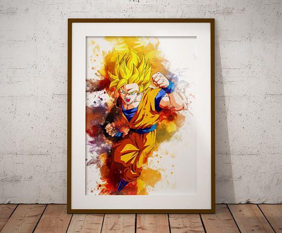 Son Goku Wand Poster Anime Aquarell Kunstdruck Super Saiyajin