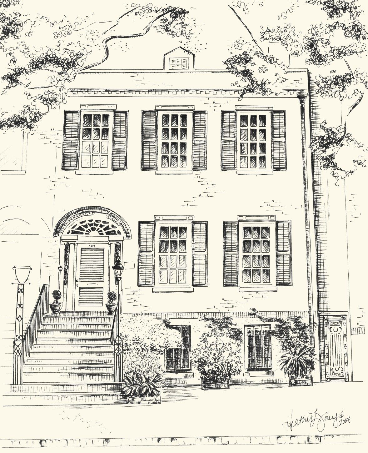 Custom Pen And Ink Architectural Drawing Of Your House Or Home 8x10 Or 11x14 Inches