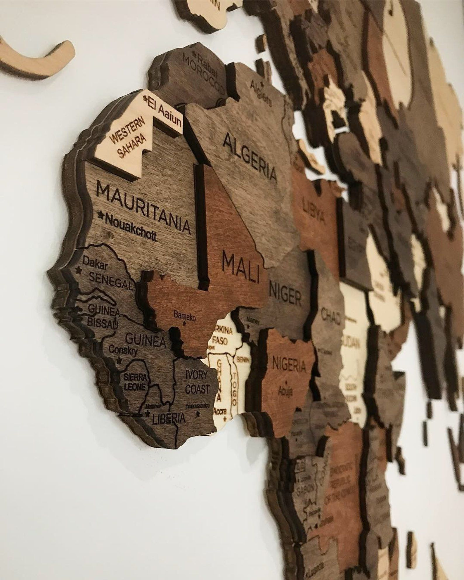 Wooden World Map Flags Pins Rustic Wall Decor House Decor Bedroom