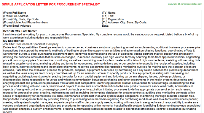procurement specialist application letter