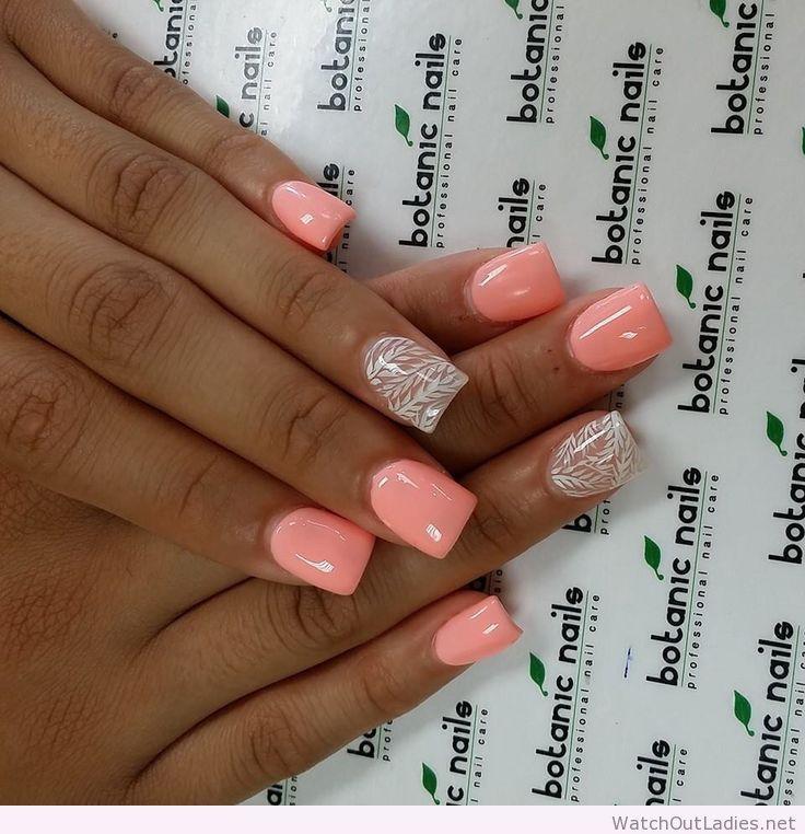 Botanic nails light orange white design peach n orange nails botanic nails light orange white design prinsesfo Images