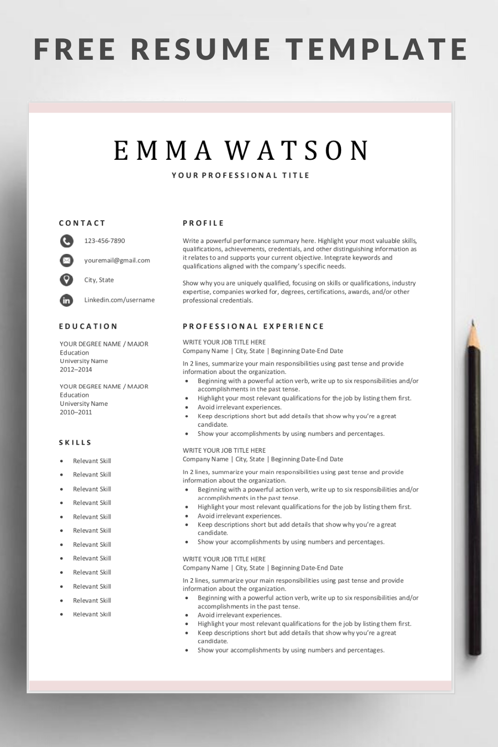 Simple Professional Resume Template Word