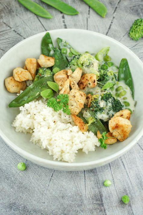 Grüne Low Carb Hähnchenpfanne - Gesund, kalorienarm und lecker #healthyfoodprep