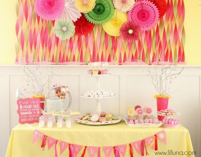 Daisies and Donuts Birthday Party Sweet girls Donuts and Streamers