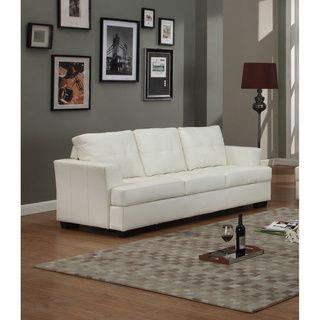 Nova White Bonded Leather Sofa