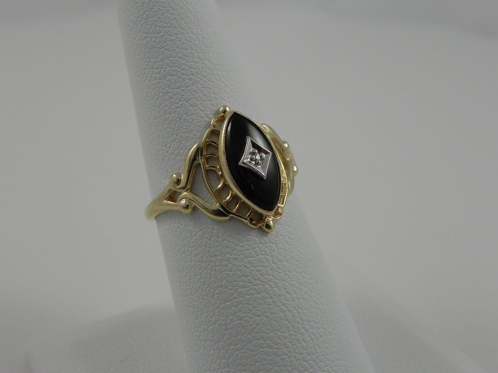 Vintage Antique Filigree 10k Solid Yellow Gold Ring W Onyx And Diamond Psco P Yellow Gold Rings Antique Filigree Gold Rings