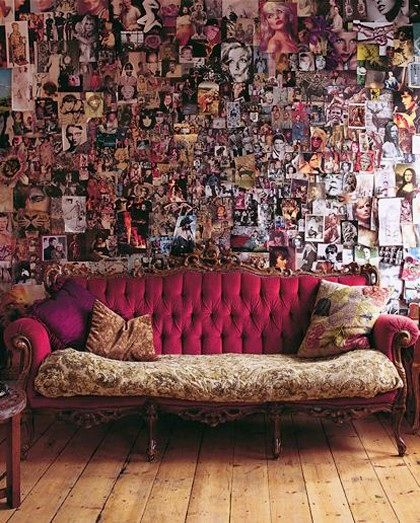 I Want This Wall. I Love All The Photos. Inspiration Wall Collage Vintage  Sofa Couch Eclectic Bohemian Home Interior Decor
