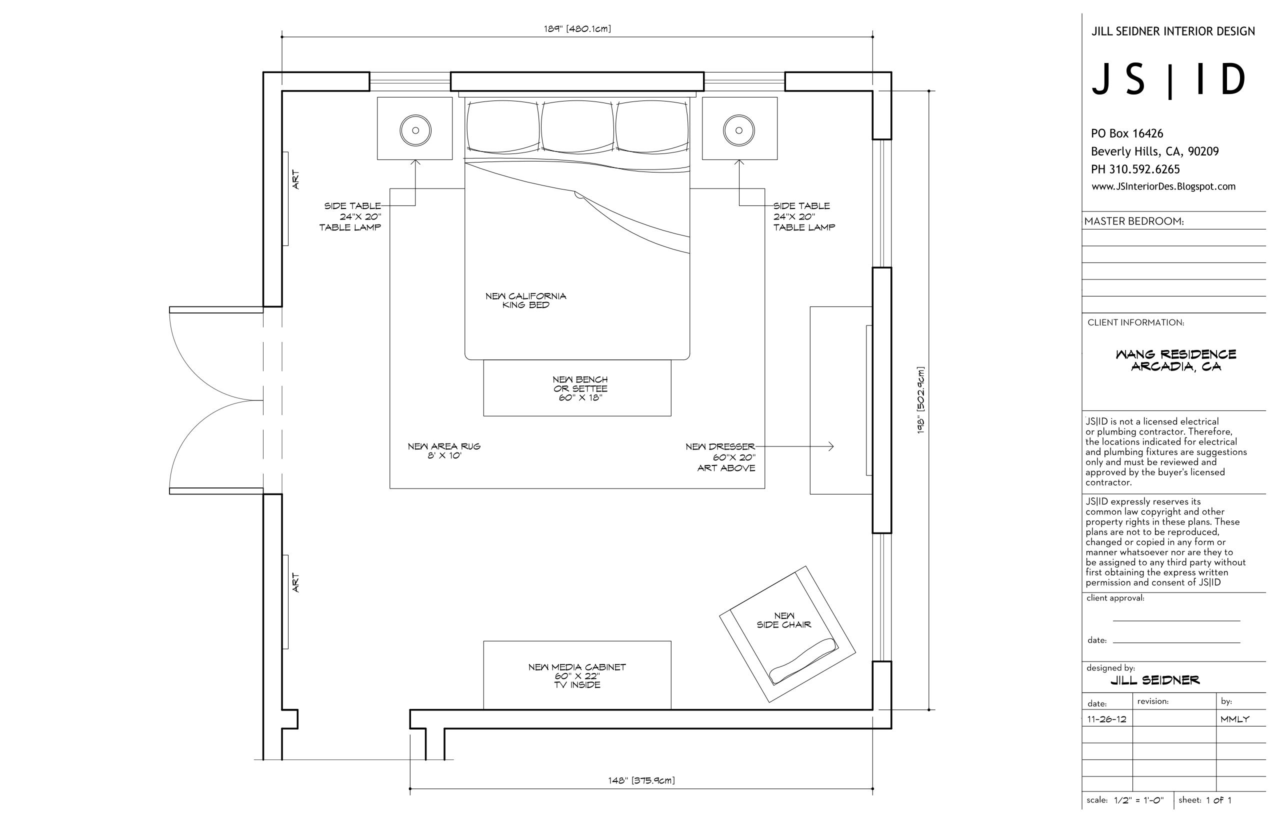 Arcadia, CA Online Design Project, Master Bedroom Furniture Floor Plan Layout, Option 2, CAD By