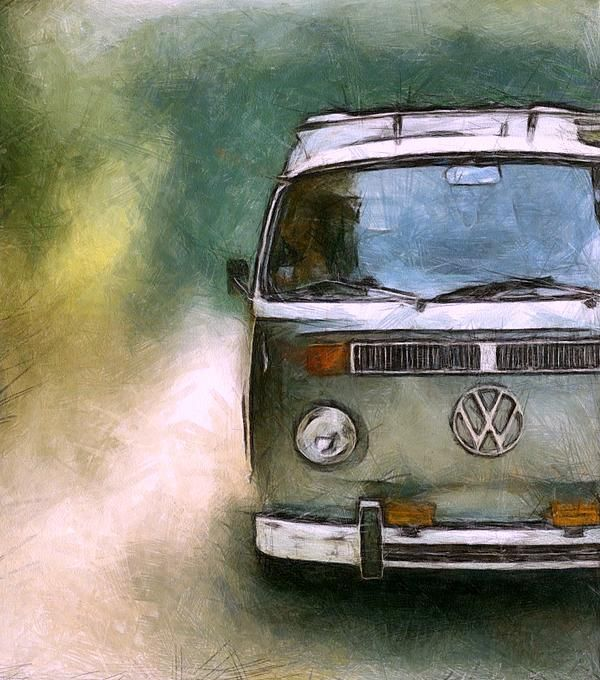 volkswagen camper van print by michelle calkins vw. Black Bedroom Furniture Sets. Home Design Ideas