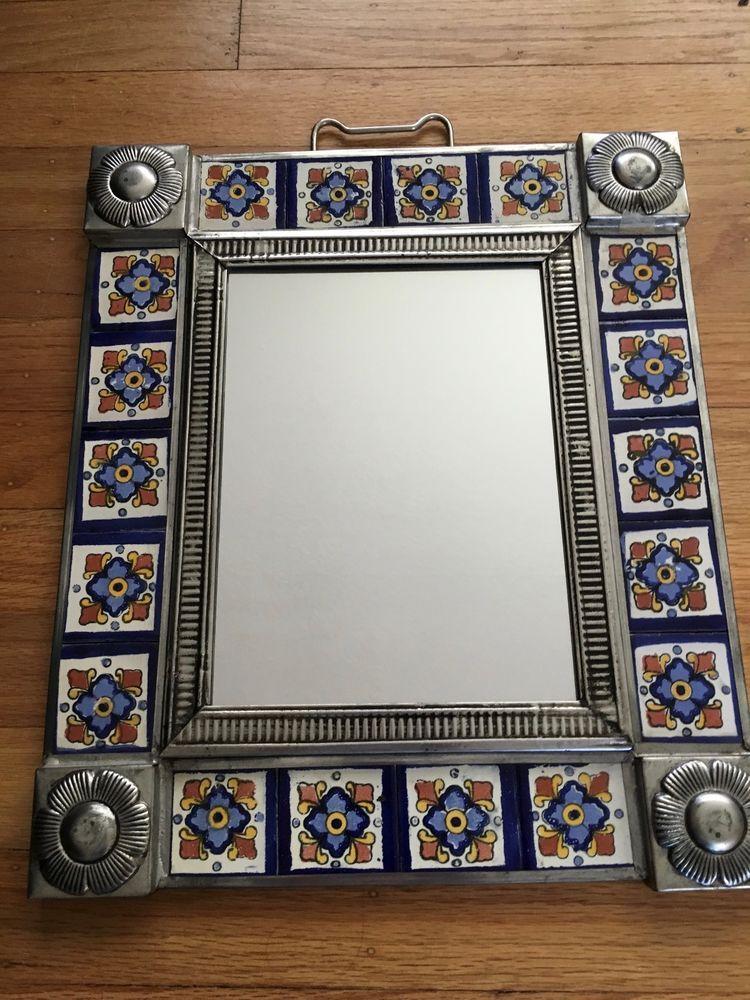 D ️mexican Folk Art Mirror Tin And Tile Aynalar