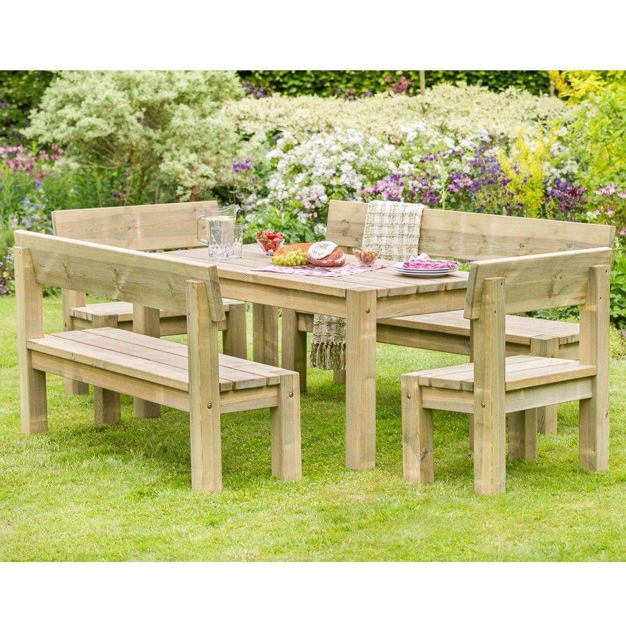 Outdoor Dining Set Rectangular Table Benches Natural Color Lawn Garden Furniture Wooden Garden Table Garden Dining Set Garden Table Chairs