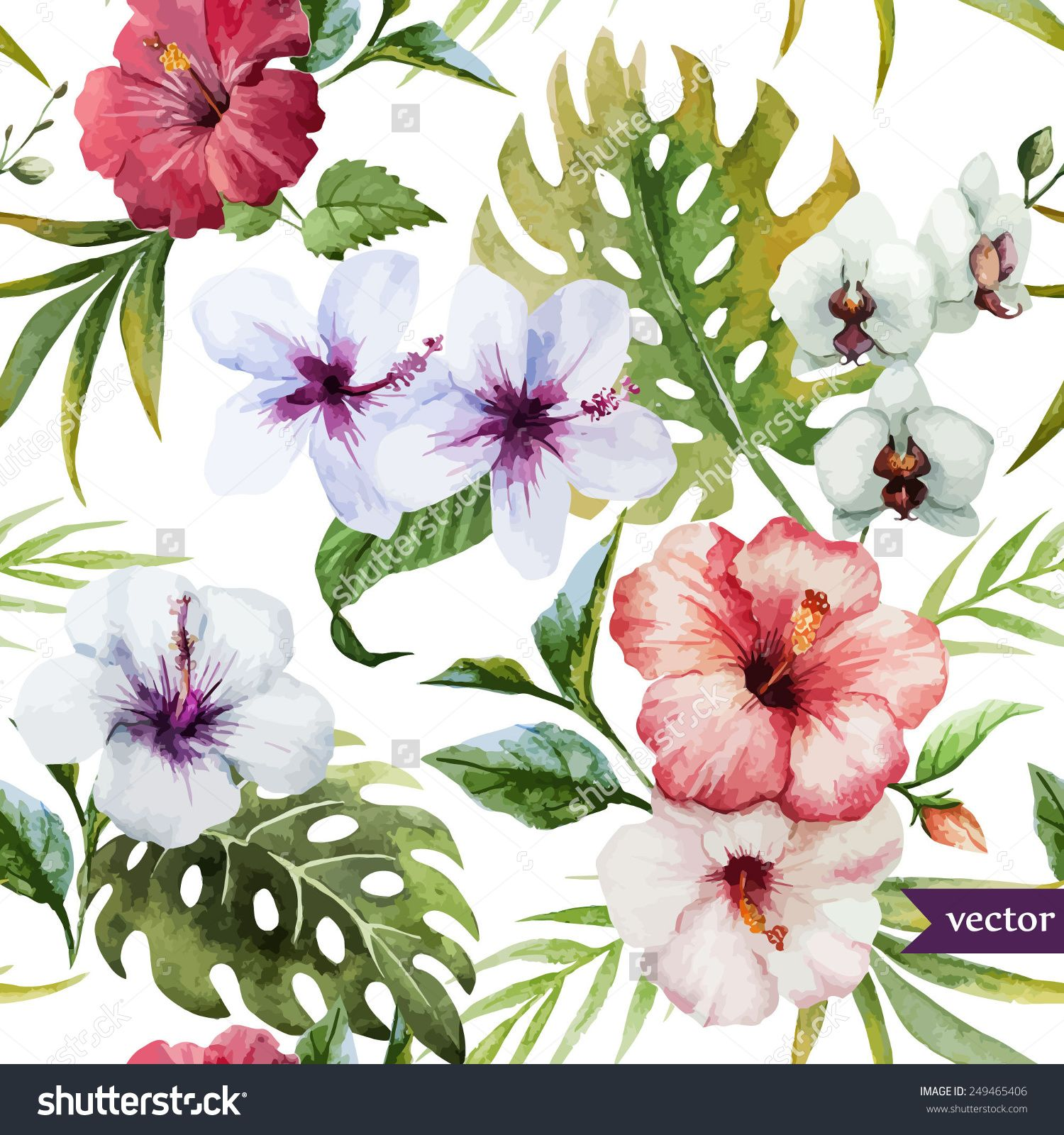 Watercolor hibiscus orchid white palm tropical pattern watercolor hibiscus orchid white palm tropical pattern background izmirmasajfo