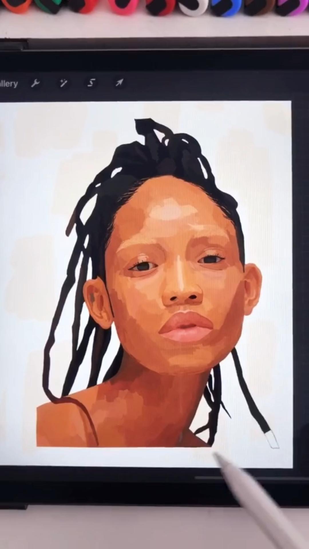 @shivsarts Digital Portrait Art Illustration of a Model on Procreate! Character Design Art Tutorial