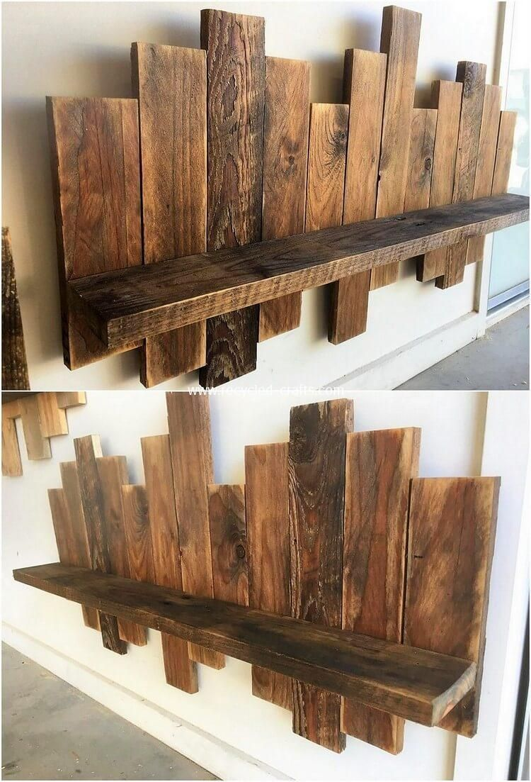 Designing Of The Wood Pallet Wall Shelf Piece Is Considered To Be One Of The Most Prominent Furniture Item Pallet Wall Decor Wood Pallet Wall Diy Wood Projects