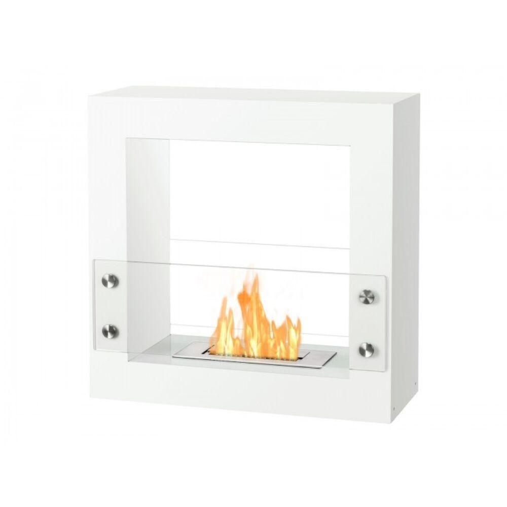 Ignis Tectum Mini White 24 Free Standing Ethanol Fireplace In Outdoor Fsf 010w Ethanol Fireplace Freestanding Fireplace Indoor Fireplace