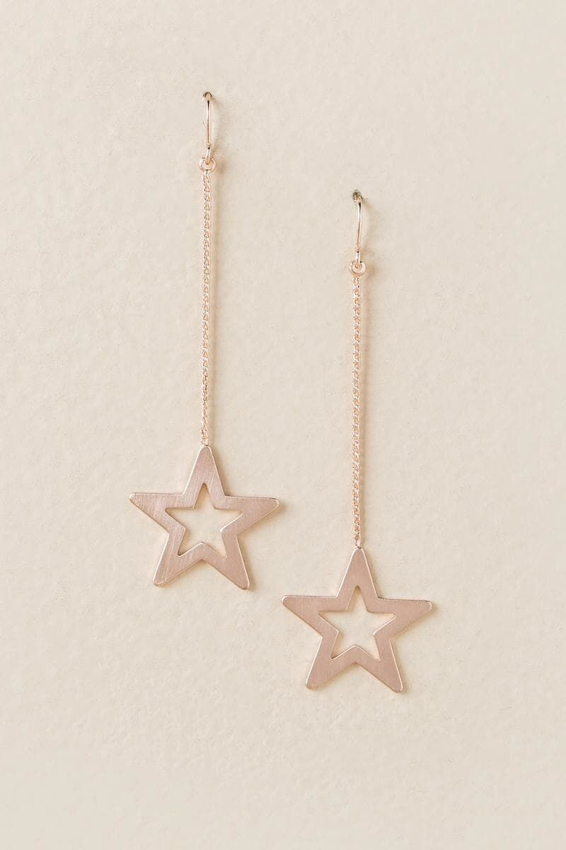 Lena chain star drop earring in rose gold jewellary pinterest