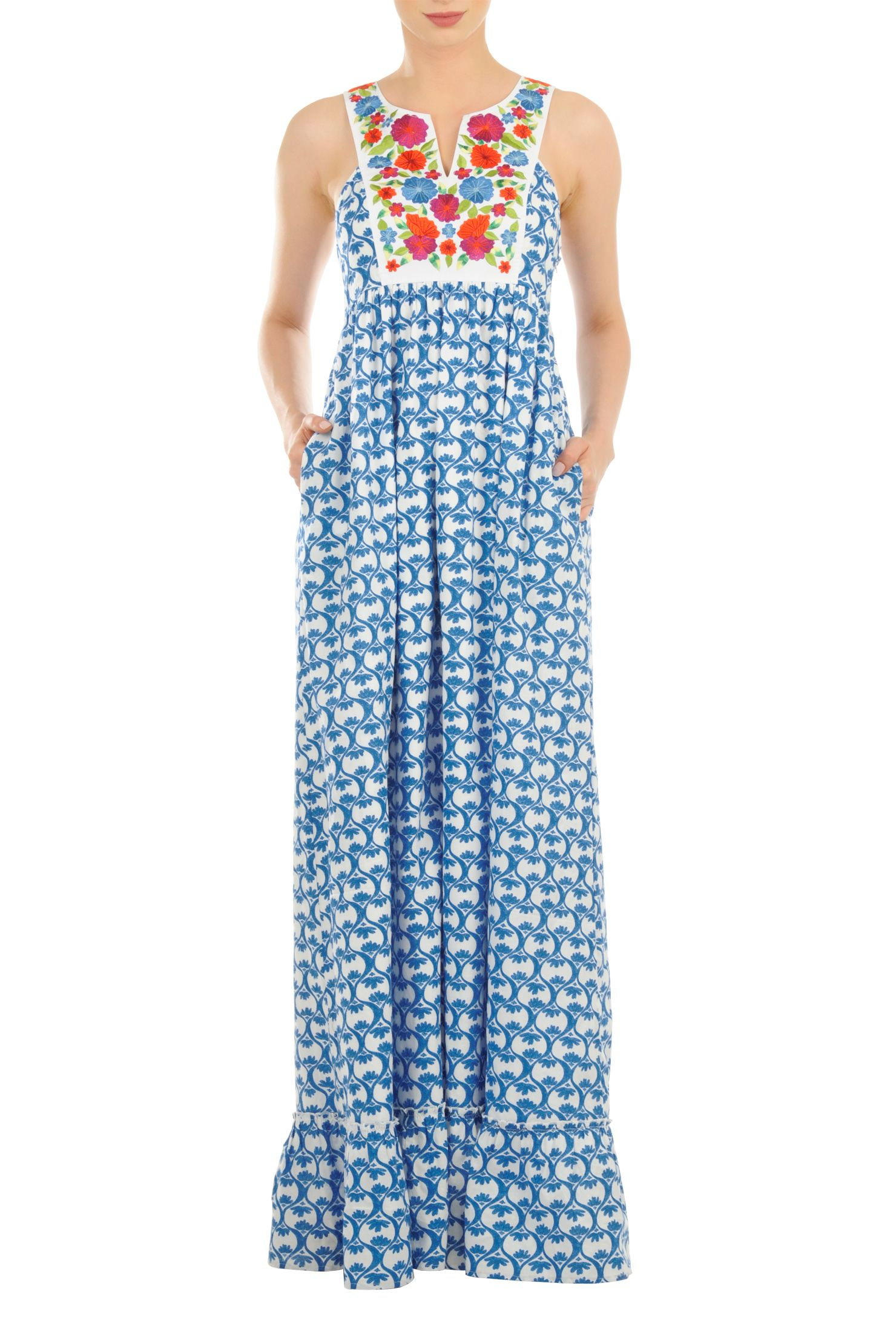 Cotton Print Maxi Dresses, Floral Embellished Bib Dresses Womens ...