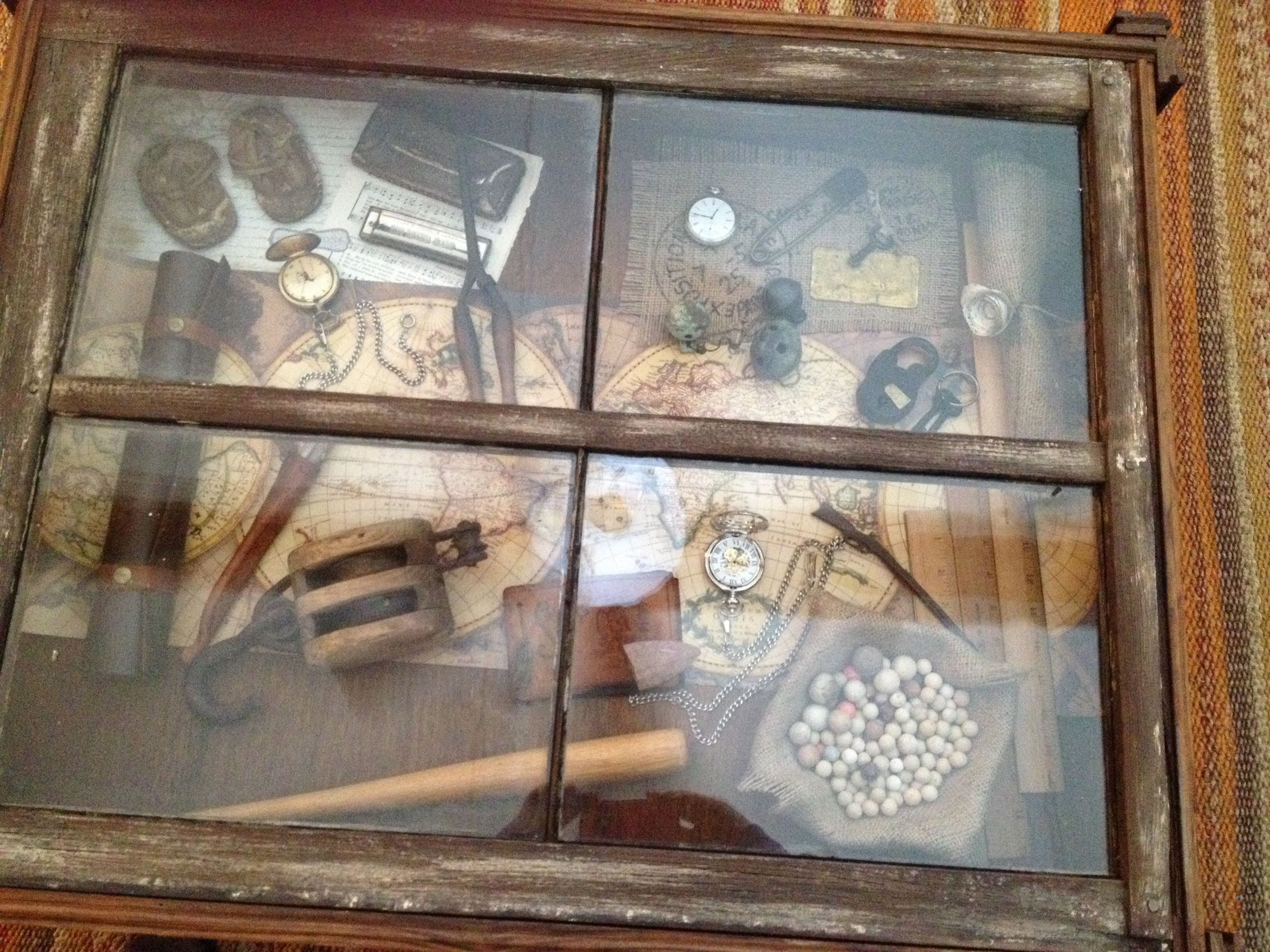 Antique shadow box coffee table Made out of an old window