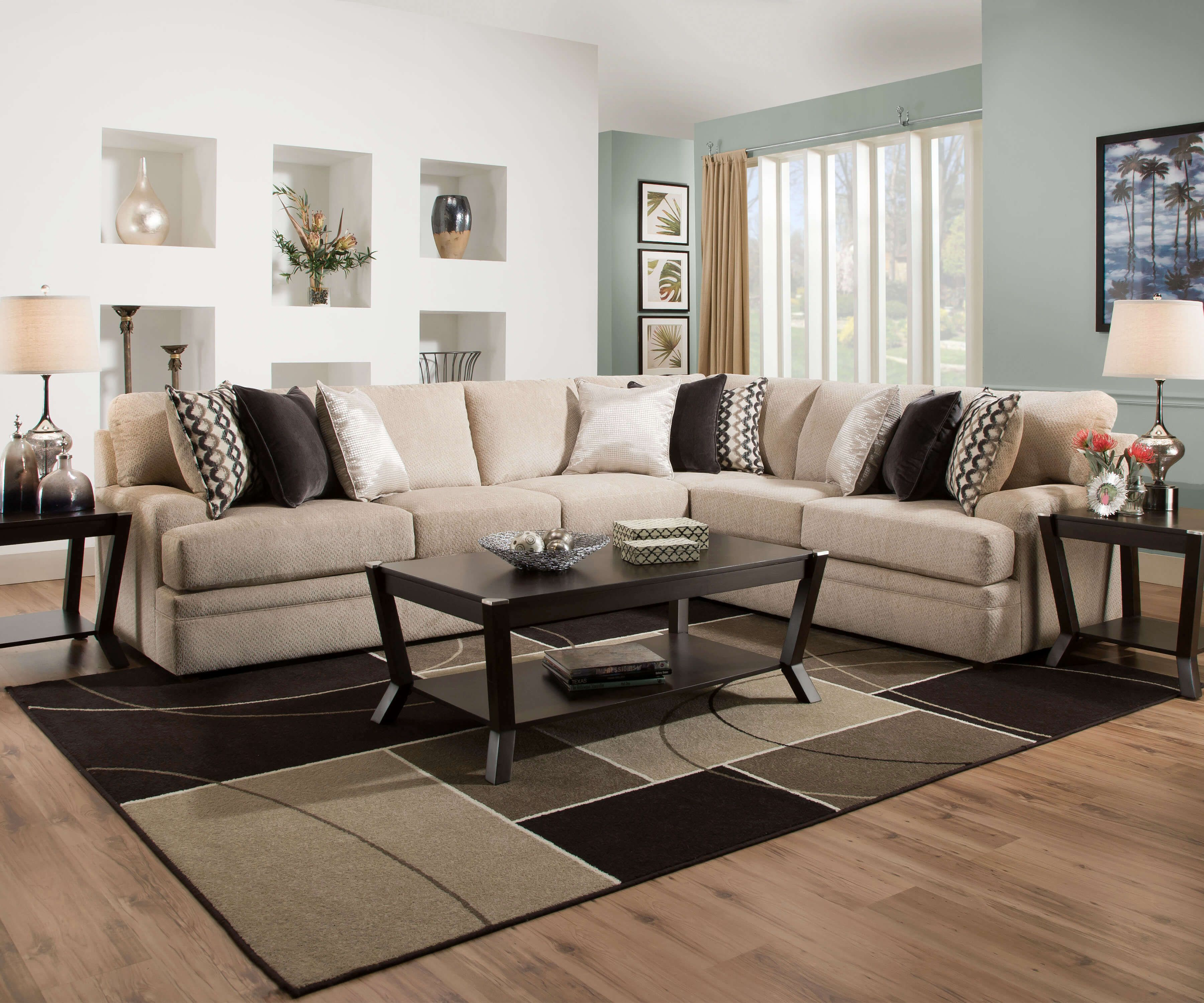 8560 Bellamy Putty Sectional By Simmons Living Room Furniture