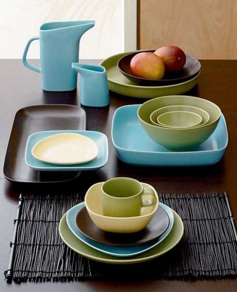 Mod Table Settings | ... And Brown Tableware Set, Modern Colors For Table