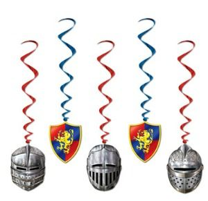 A pack of 5 metallic medieval whirls with 3 x knight helmets and 2 x medieval lion crests. Don't forget to add the medieval pennant banner and the herald trumpet cutouts. 75cm drop