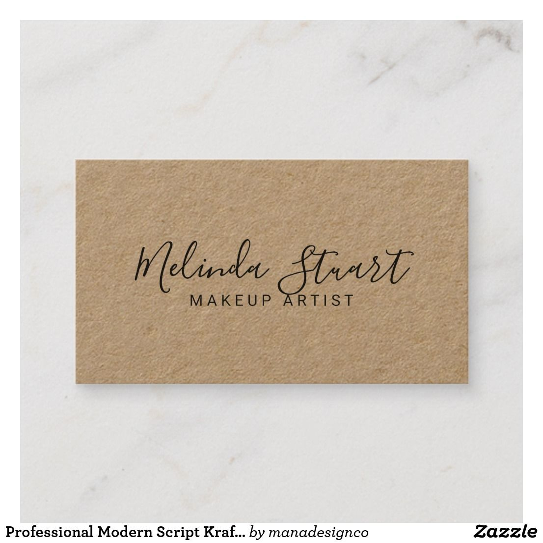 professional modern script kraft paper business card