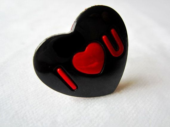 Red And Black Heart Ring I Love U Kawaii By StrikingKittens 600