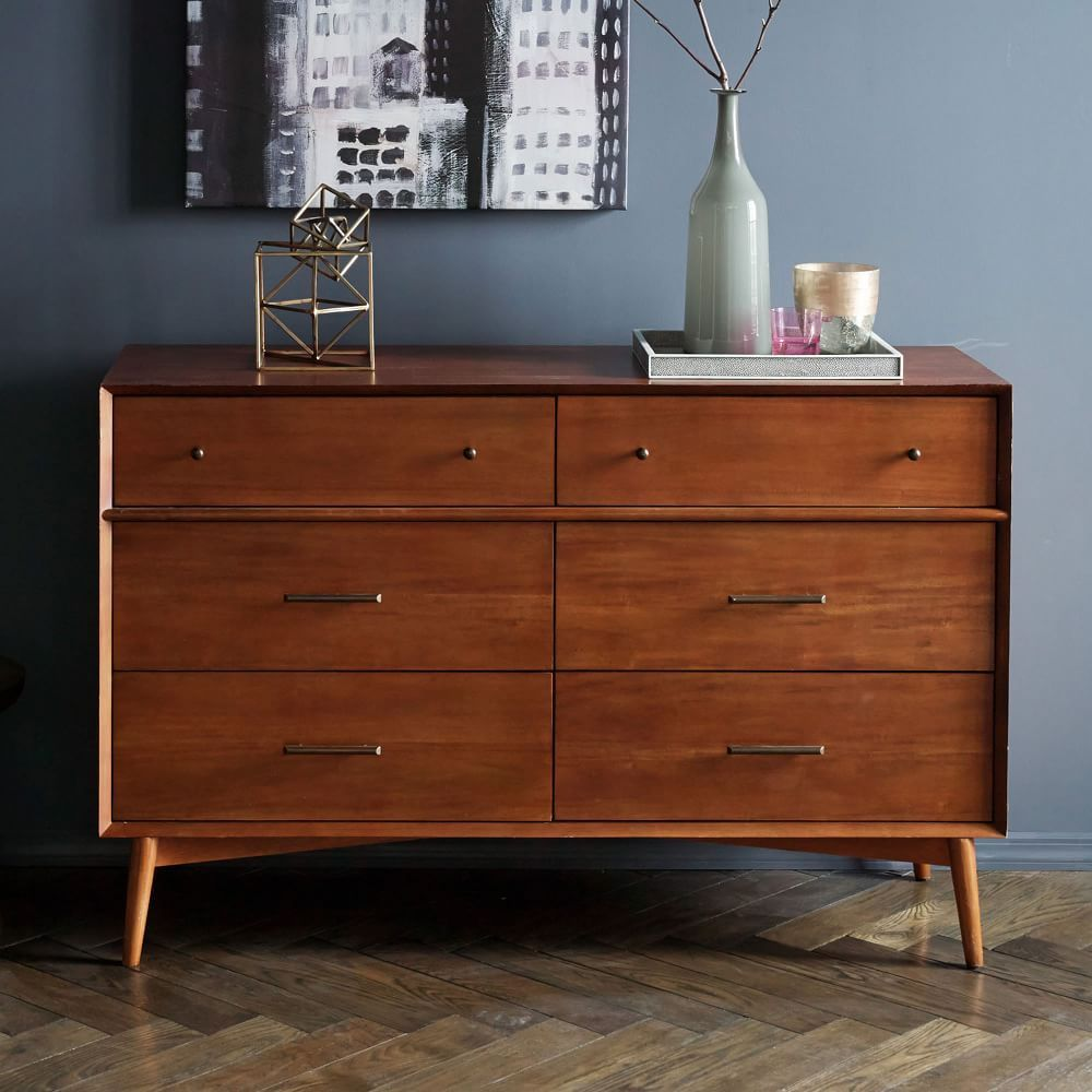 MidCentury 6Drawer Dresser Acorn Bedroom dressers
