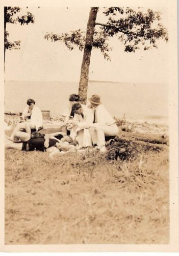 Photograph Snapshot Vintage Black and White: Family Swimsuits Beach 1930's