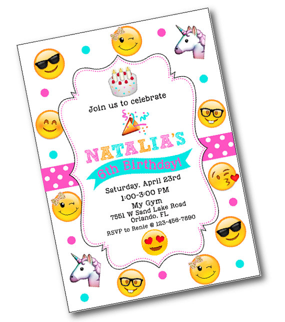 glitter bow emoji birthday party invitation emoji birthday party
