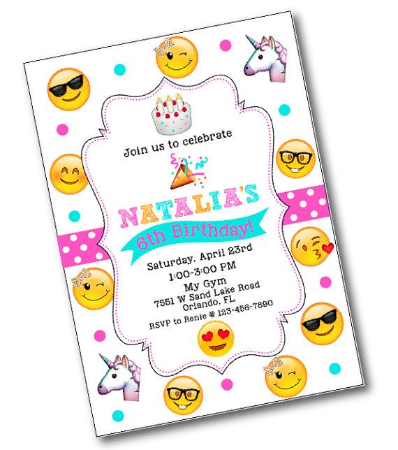 Glitter Bow Emoji Birthday Party Invitation Emoji birthday party – Invites Birthday Party