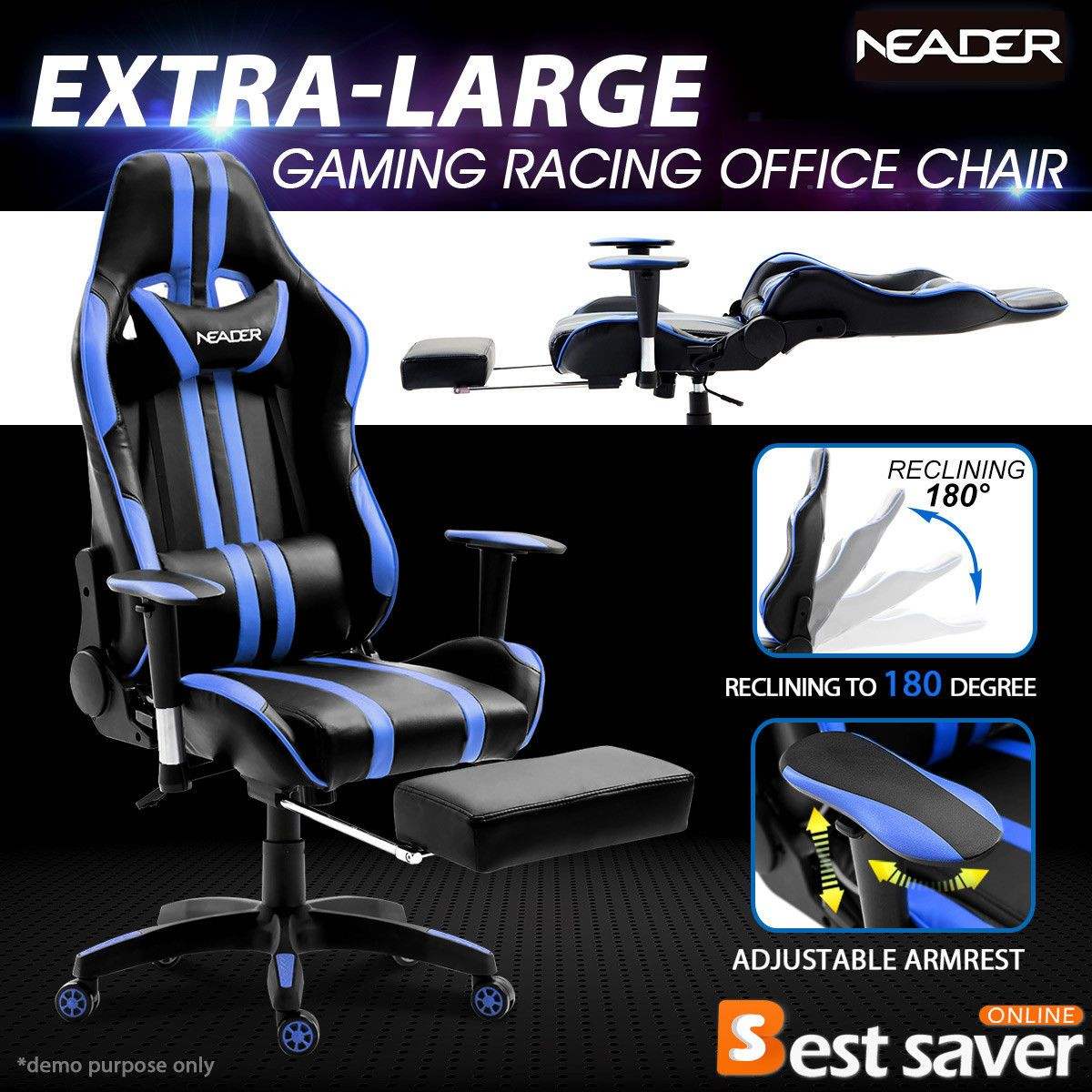 NEADER XL Executive Racing Gaming Chair High Back w/Footrest