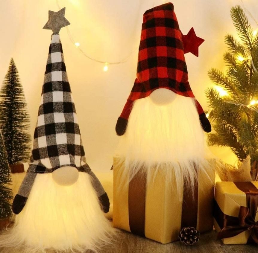 Swedish Christmas Gnome Lights, Scandinavian Tomte 6 Hours Timer, Home Party Decoration (A) - 18.5x4.8 Inches,Pack of 2