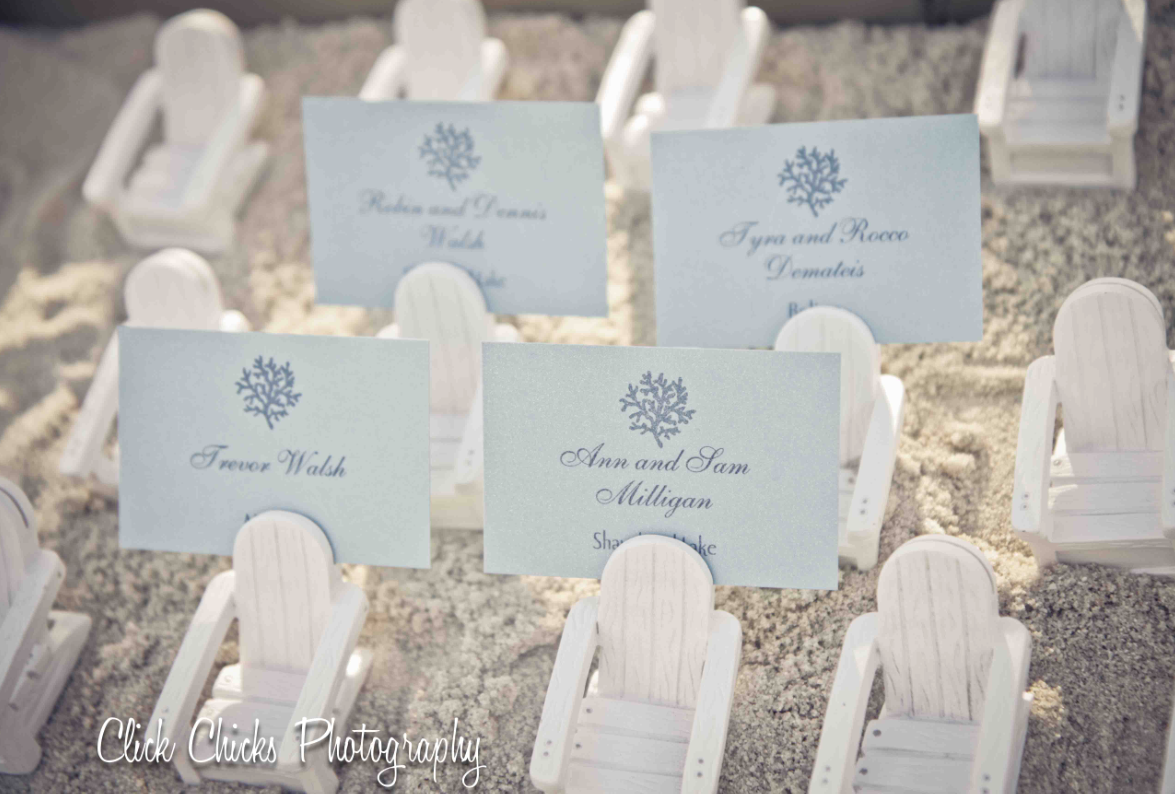 Adirondack chair place card holders set in a tray of sand. Super ...