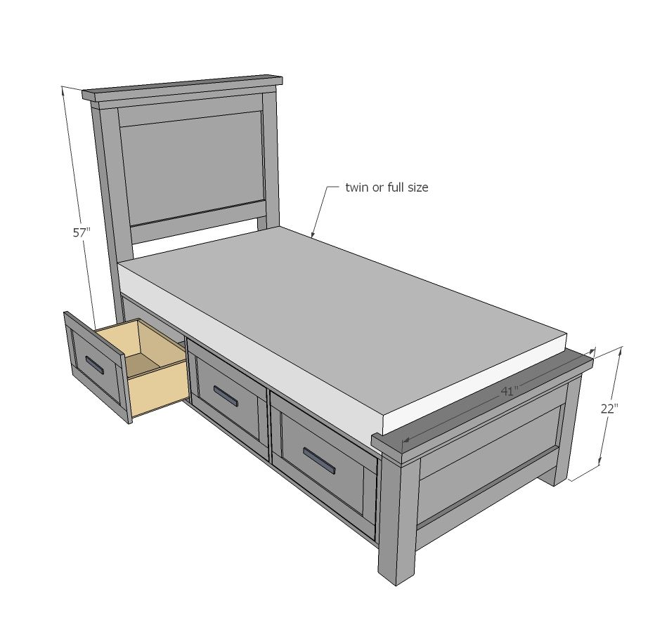 Ana White | Build a Farmhouse Storage Bed with Drawers - Twin and ...