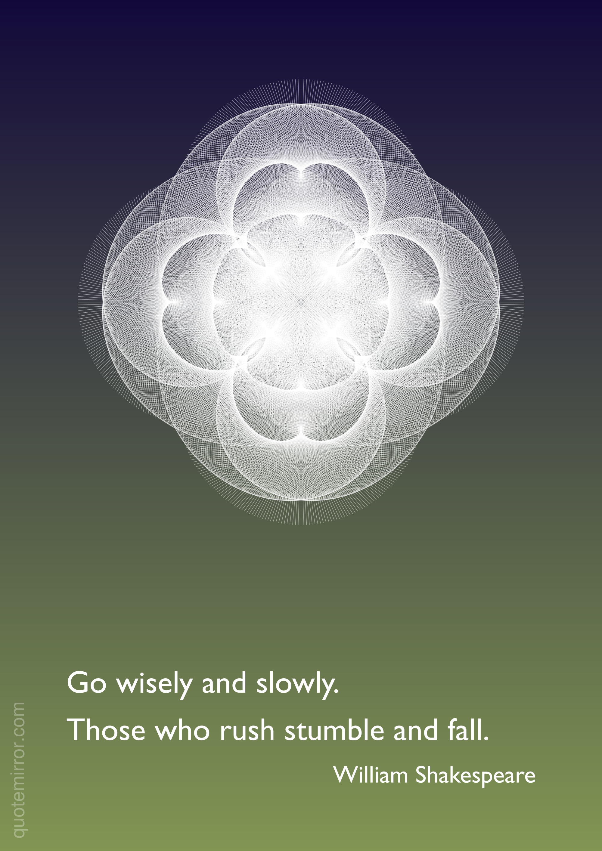Go wisely and slowly.  Those who rush stumble and fall. –William Shakespeare http://quotemirror.com/s/z32p0 #slowly #wisely
