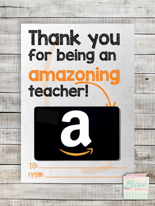 instant download printable amazon teacher gift card holder