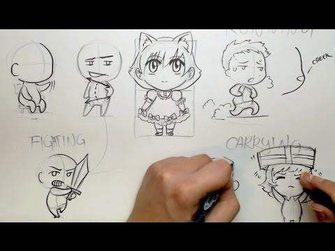 Yamio Lineart : Draw chibi poses four different ways youtube geebis