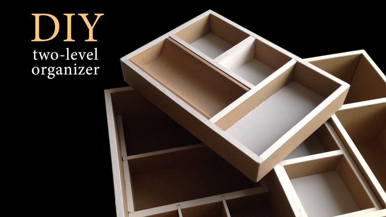 Diy How To Make A Two Level Cardboard Drawer Organizer Hd