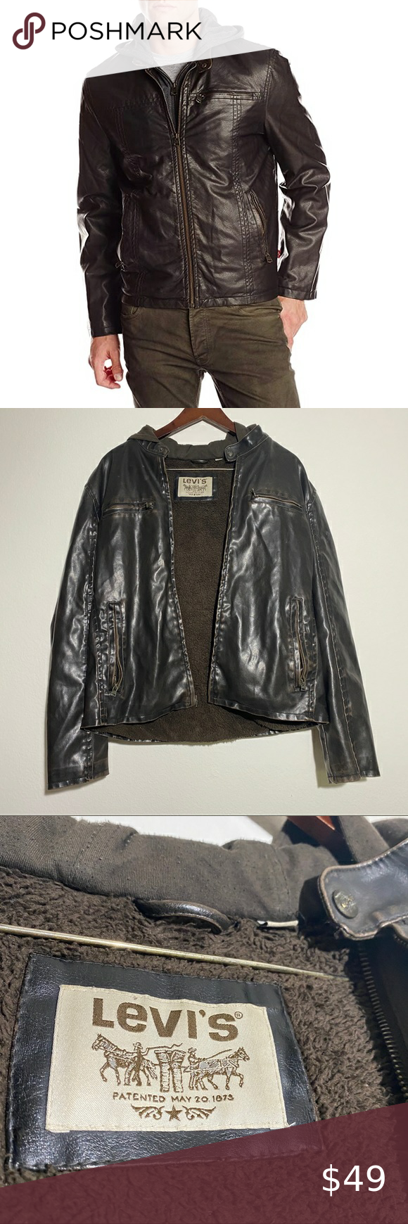 Levis Mens L Large Faux Leather Jacket Brown Racer Brown Leather Jacket Faux Leather Jackets Leather Jacket [ 1740 x 580 Pixel ]